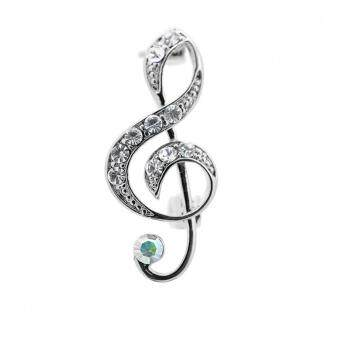 Harga Jewel Crystal Music Note Clef Brooch Pin 2Pcs Silver