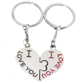Harga Bluelans 1 Pair I Love You Kiss Keychain Heart Keyfob Lover Couple Gift Keyring