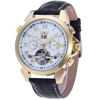 Harga (Import) Jargar Automatic Mechanical Movement with Black Leather Strap Gift Box JAG922TG06 (white)
