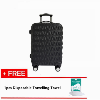 Harga Travelling Pack: Triangle Diamond 24'' Travel Luggage [Black] With Free 1pc Disposable Travelling Towel