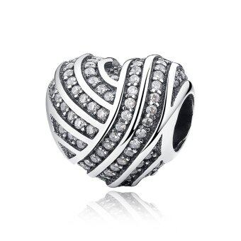 Harga BAMOER Mother Gift 925 Sterling Silver Jewelry LOVE LINES Charms Fit Bracelet & Bangle Accessories Fine Jewelry PAS280