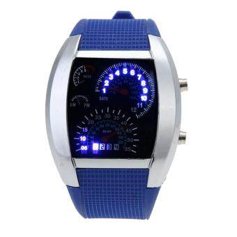 Harga Men Blue White LED Watch Black Rubber Speedometer Digital Watch (Blue)