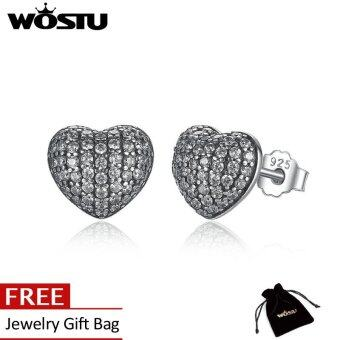 Harga Wostu Brincos 925 Sterling Silver My One True Love Stud Earrings for Women Openwork Heart Earrings Fine Jewelry ZBBS443