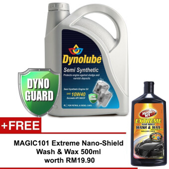 Harga Dynolube 10W40 SN/CF Semi Synthetic 4L FREE Magic101 Extreme Nano-Shield Wash & Wax 500ml worth RM19.90