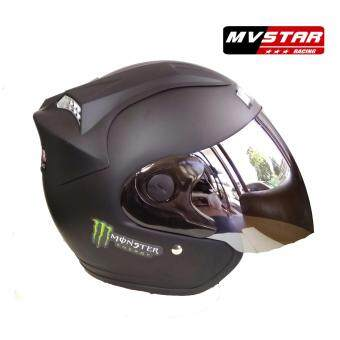 Harga Mv Star Helmet Monster Flat Black Chrome Visor