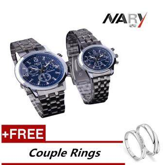 Harga NARY 6033 Dial Classic Couple Lover Women Men Quartz Full Stainless Steel Wrist Watch Blue +Free Adjustable Lovers Rings (Buy 1 Get 1 Free)