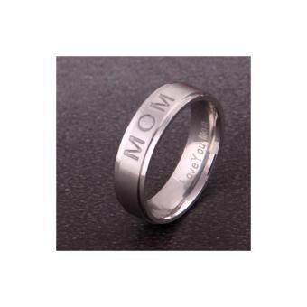 Harga LOVE YOU MOM' Titanium Carving Ring Women's Ring Mother's Day Gift for Mom Rings Elegance Delicate Jewelry -10#,Silver