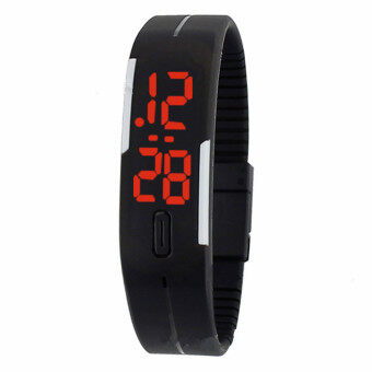 Harga Foreign Trade Explosion Models Silicone LED Students Electronic Bracelet Watch (Black)