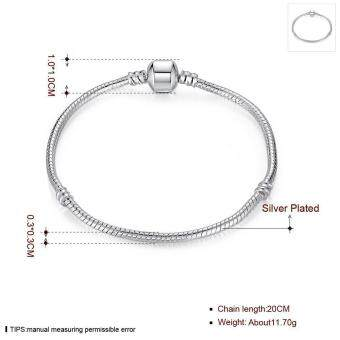 Harga Women's Fashion Fashion Popular Gorgeous Cable Wire Ladies Bracelet Sterling Silver Plated Bracelet (Silver)