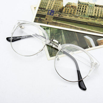 Harga Retro Style Women Men Nerd Glasses Clear Lens Eyewear Round Metal Frame Glasses
