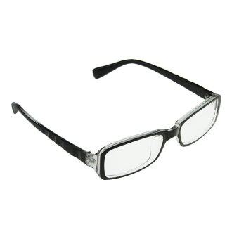 Harga Fashion PC TV Eye Protection Slim Office Secretary Unisex Plastic Frame Arms Clear Rectangle Lens Plain Mirror Nerd Glasses Vision Radiation/Video Computer Glasses Eyeglasses