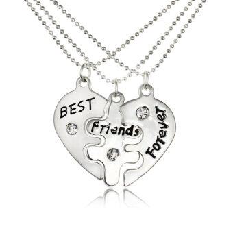 Harga 3 Parts Best Friends Puzzle Pendants Necklaces Set Broken Heart-shaped with Rhinestone Lobster Clasp Personalized Fine Jewelry Gift for Friends 45cm