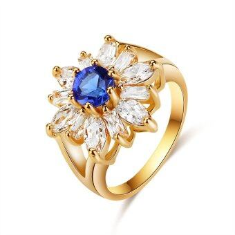 Harga Women Rings For Girls CZ Jewelry Gold Plated Ring Round