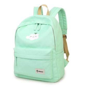 Harga Mint Green Sweet Girl Ultralight Canvas Schoolbag for Girls Go Back To School Sports Backpack