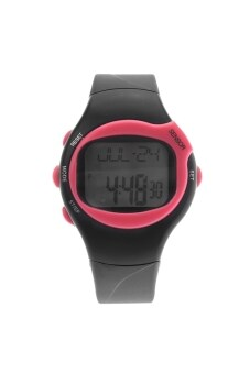Harga 0441 Waterproof Unisex Pulse Heart Rate Monitor Calorie Counter Sports Digital Watch with Date /Alarm /Stopwatch Rosy