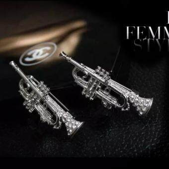 Harga Jewel Crystal Trumpet Instrument Brooch Pin Silver 2pcs