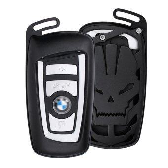 Harga DAYJOY LuxurySkull Style Premium Aluminum Car Key Shell Cover With Key Chain For BMW keyless remote control Smart Key Fob Holder 1/2/3/4/5/6/M/X SERIES X3 X4 M2 M3 M4 M5 M6 (BLACK)