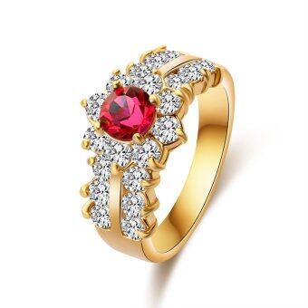 Harga Women Rings For Girls CZ Jewelry Gold Plated Ring Red