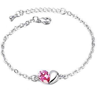 Harga LOVENGIFTS Swarovski In My Heart Bracelet (Pink)