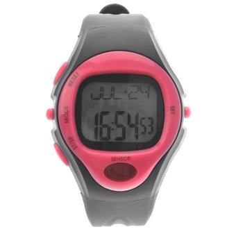 Harga 06221 Waterproof Unisex Pulse Heart Rate Monitor Calorie Counter Sports Digital Watch with Date /Alarm /Stopwatch (Rosy)