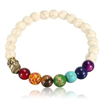 Harga Stone Gem Chakra Healing Yoga Reiki Lava Rock Prayer Bead Bracelet Mala Bangle