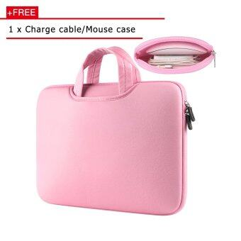 Harga Jiaing 15.6 inch Multifunction Waterproof Laptop Sleeve Soft Case Bag Protective Cover for Apple, Acer, Asus, Dell, Fujitsu, Lenovo, HP, Samsung, Sony, Toshiba (Pink)