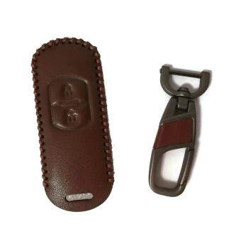 Harga Hand-Sewn Leather Remote Car Key Cover Case Compatible with Mazda 2 / CX3 / CX5 Keyless 2Buttons Remote (Brown-BROWN Line)