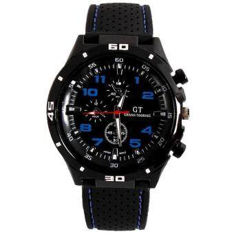 Harga SoKaNo Trendz Blue Number Military Pilot Silicone Sport Wrist Watch
