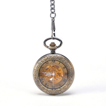 Harga Round Bronze Transparent Mechanical Pocket Watch With Chain Steampunk Skeleton Antique Men Pocket Watch Sales