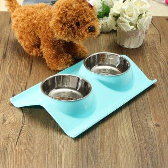 Harga Splashproof Double Pet Bowl Stainless Steel Dog Cat Puppy Feeder Food Water Dish Blue