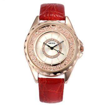 Harga High Quality KEZZI 742 Leather strap Water Resistant Fashion lady Rhinestone Dial Watches Women Dress Quartz Wristwatches (Red)