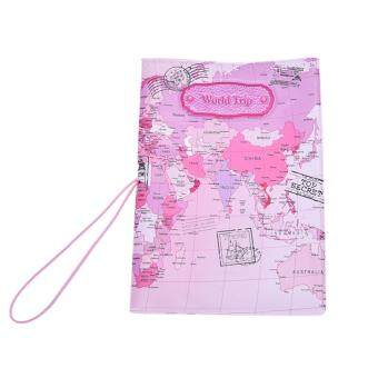Harga Faux Leather Passport Holder Case Travel Cover Colorful World map Custom text Pink