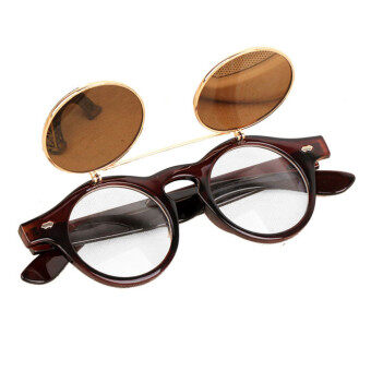 Harga Steampunk Goth Goggles Glasses Retro Flip Up Round Sunglasses Brown