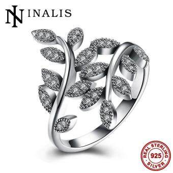 Harga INALIS Genuine 925 Sterling Silver Jewelry Women's Exquisite Vintage Leaf Ring with Sparkling AAA CZ Diamond