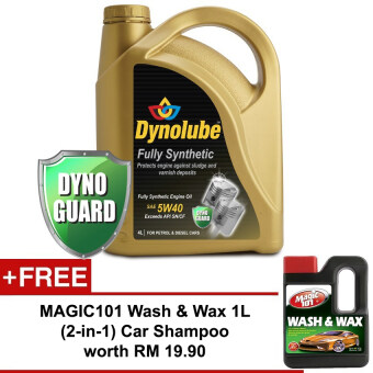 Harga Dynolube 5W40 SN/CF Fully Synthetic 4L FREE Magic101 Wash & Wax 1L worth RM19.90