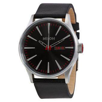 Harga Nixon Watch Sentry Black Stainless-Steel Case Leather Strap Mens NWT + Warranty A105000