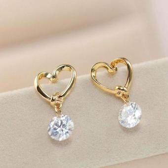 Harga BUYINCOINS Women Heart Silver Ear Hook Crystal Rhinestone Earrings Love Jewelry