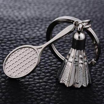 Harga Creative Gifts Accessories Badminton key Chain Shuttlecock & Badminton Racket key ring Love Couple Key Holder