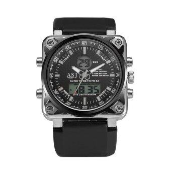 Harga ASJ Men's W1008MF8803 Analogue Digital Military Army Silicone Sport Black Dial Watches