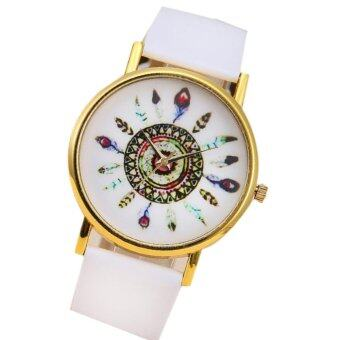 Harga women vintage Leather strap band Feather Quartz Watches round dial ladies pointer Dress Watch White