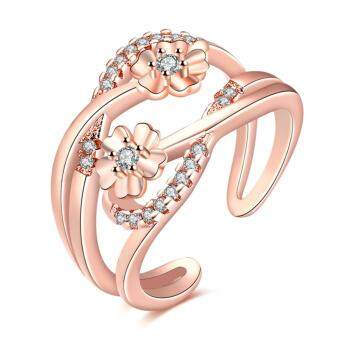 Harga Stylish Design Fashion Rose Gold Plated Color Open Ring With AAA Zircon Finger Adjustable Ring For Girl Gift