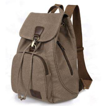 Harga 2017 New Vintage woman Canvas Backpack Unisex Fashion Lock and String Backpack Travel for Teenagers