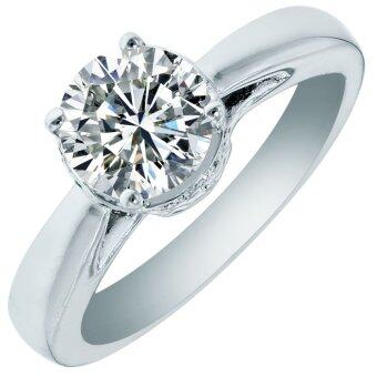 Harga Amogh Jewels Round Swarovski Crystal White Gold Plated Silver Ring
