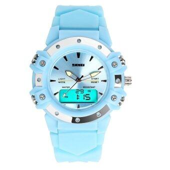 Harga MiniCar Skmei 0821 Stainless Steel Dual Display 5ATM Fashion Watch Multi-functional Sport Digital Watch(Color:Blue)