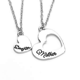 Harga Hequ Europe romantic hollow mother daughter love heart pendant necklace women letters lover heart maxi necklace as