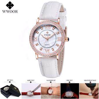 Harga Loveu Ladies Watch Best Gift Luxury Crystal Diamond Dress Watch Genuine Leather Women Watches Luminous Analog Ladies Quartz Watch, White