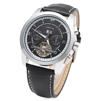 Harga MiniCar Forsining F120571 Tourbillon Automatic Mechanical Wrist Watch for Men Black silver(Color:Black silver)