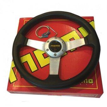 Harga MOMO 14inches PU Sport Steering Wheel for Universal Car Racing Wheel - Silver