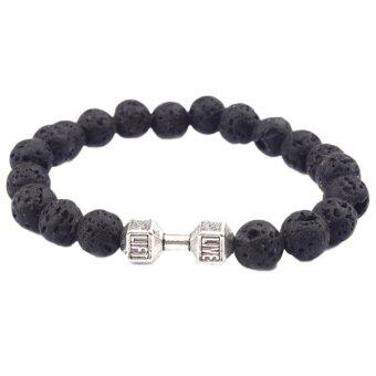 Harga Hequ Hot Sale Novelty Style Jewelry Natural Lava Energy Lava Bracelet Fashion Beaded Metal Dumbbell Bracelet Silver