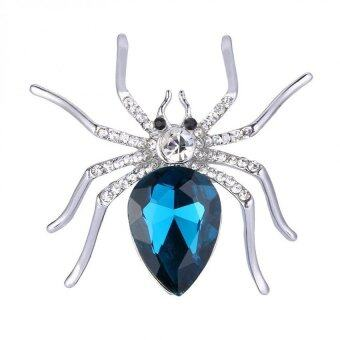 Harga Spider Luxurious and Stylish Spider Clip Pin Brooch w/ Rhinestone Blue &Silver